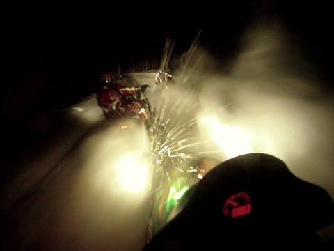 Snowmobile video, uncut night trail riding video, snowmobille trail ride video, MI sled trails