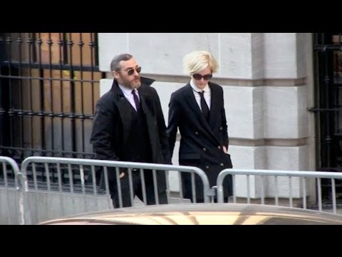 Joaquin Phoenix and Allie Teilz at Philip Seymour Hoffman Funeral service in New York
