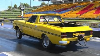 BECKS RACING SCF RACE CARS FORD V8 UTE 9.28 @ 144 MPH SYDNEY DRAGWAY 29.10.2014