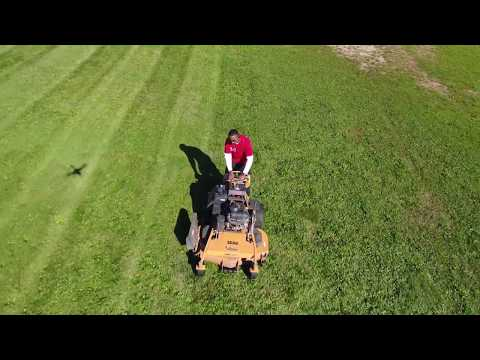 Drone view of Oasis Lawn Care & Snow Removal mowing Oasis Church in Mansfield, OH