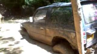 Mitsubishi Pajero crossing through deep mud - Brick Kiln Farm - Fourmarks - Alton, Uk