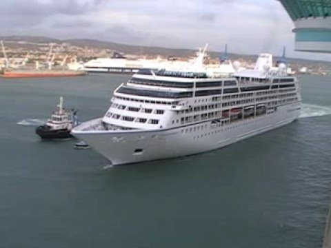 Azamara Quest Cruise ship leaving Civitavecchia, Italy.