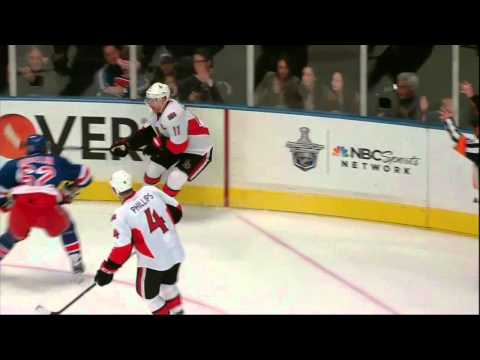 Carl Hagelin elbow to Daniel Alfredsson. Ottawa Senators vs NY Rangers. 4/14/12 NHL Hockey