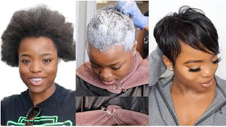 RELAXING MY NATURAL HAIR AFTER 2 YEARS + PIXIE CUT    HAIR TRANSFORMATION TUTORIAL