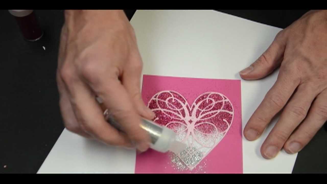 Memory Box Ombre Glitter Heart Card Youtube