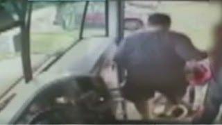 Bus driver physically kicks kid off bus   3/21/13