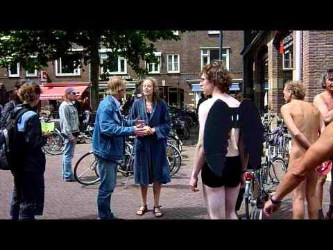 Naked biking in Wageningen, Holland