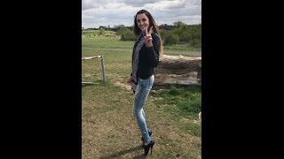"Lara 2nd try in Ballet Shoes Boots High Heels extreme pointe Heel sexy Jeans 8""inch 21cm in public"