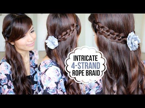 Intricate 4-Strand Rope Braid Hairstyle - 4 fonott strand frizura készítése
