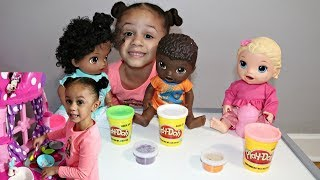 Pretend Play with Baby Dolls and Toy Kitchen Playset! Imani's Family Fun World