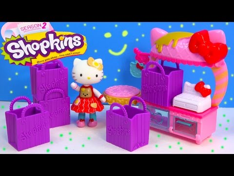 Shopkins Season 2 Unboxing Hello Kitty Cafe Playset Play Food Set Surprise Mystery Blind Bag Video
