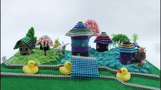 How To Make Beautiful Villa with Magnetic balls, Kinetic Sand, Mad Mattr, Decorative Flowers