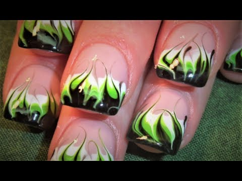 No Water Needed - DIY Neon Marble Flames nail art Tutorial