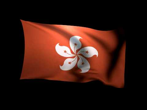 3D Rendering of the flag of Hong Kong waving in the wind.