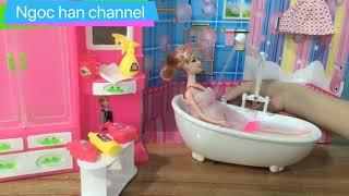 Đồ chơi nhà tắm búp bê - đồ chơi trẻ em - ngọc han channel..