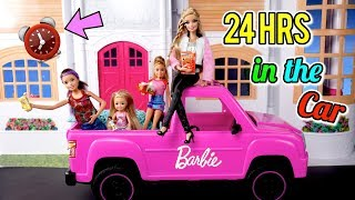 Barbie Doll Family 24 Hours Overnight in The New Pink Car