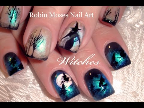 DIY Halloween Nails | Witches Flying over Moon Nail Art Design Tutorial - YouTube
