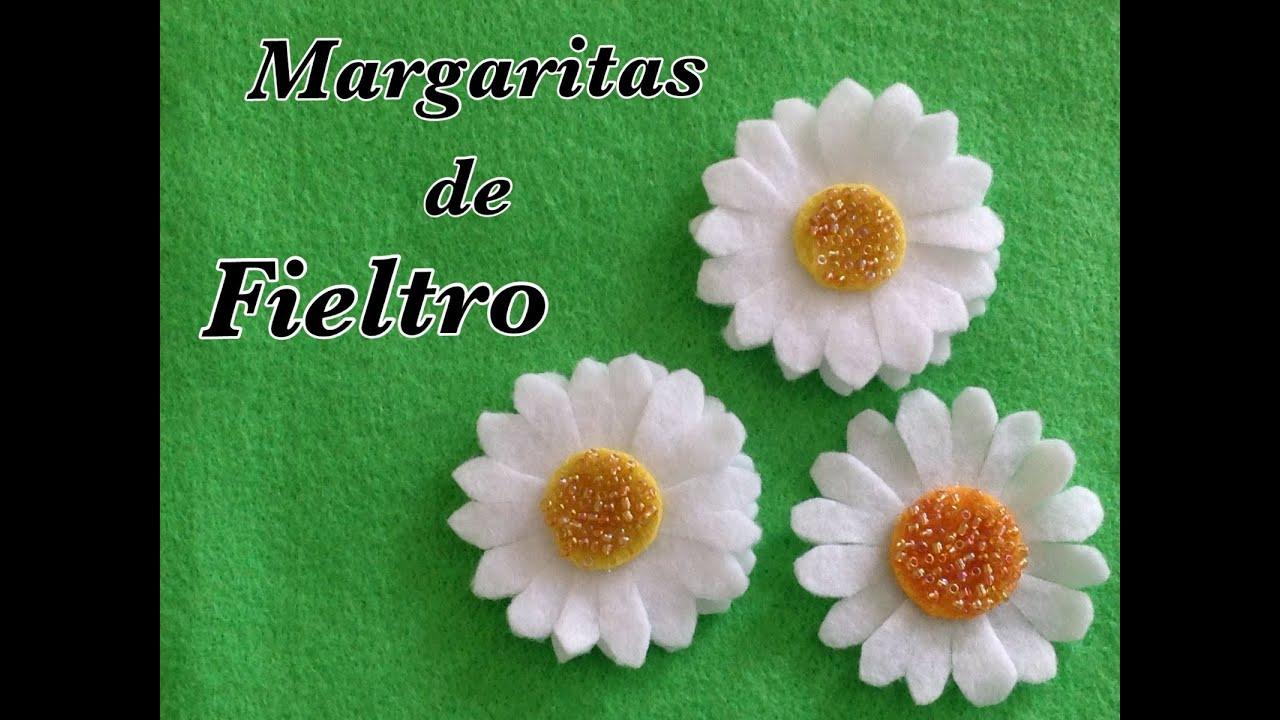 Margaritas hechas con fieltro felt daisies youtube - Flores de telas hechas a mano ...