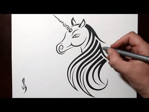 How to Draw a Unicorn - Tribal Tattoo Design Style