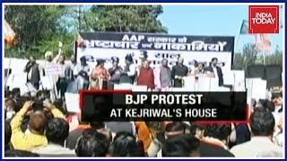 BJP Stages Massive Protests Against AAP Govt, Kejriwal Hits Back
