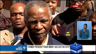 Former President Thabo Mbeki speaks after voting
