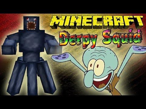 Чокнутые Сквидвард-Боссы! Обзор Мода Minecraft!  (Derpy Squid) №75