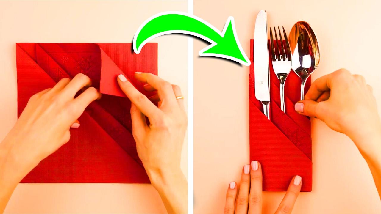 Kā skaisti salikt salvetes svētku galda servēšanā