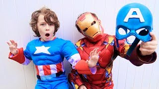 Captain America Vs Iron Man In Real Life Superhero Race For The Nerf Blaster - Beaherokids