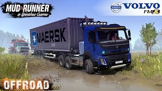 Spintires: MudRunner - VOLVO FMX 6X6 Pulls Out of The Ditch Stuck Gasoline Tank Truck