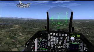 FSX F16 2 Ship  formation land (F16雙機編隊落地)