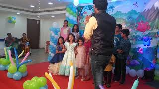 Stage game for kids at first birthday party Chennai Event Entertainer Thamizharasan