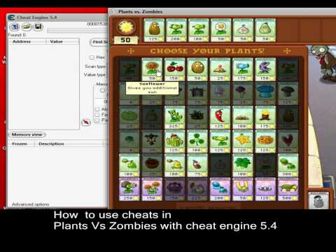 How to use cheats in Plants Vs Zombies using cheat engine 5.4