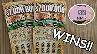 """2 NICE WINS IN A ROW!! $7,000,000 """"MEGA CASH"""" LOTTERY TICKET SCRATCH OFF!!"""