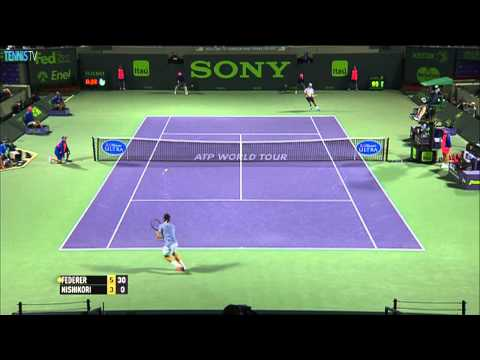 Federer Rips Backhand Hot Shot Against Nishikori in Miami