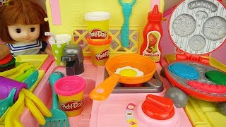 Baby doll and play doh hamburger kitchen cooking play