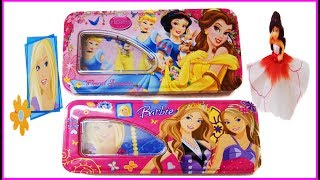 Surprise Disney princess And Barbie Pencil Box | Kids For Toys | Baby Doll Rings Bags Lipsticks