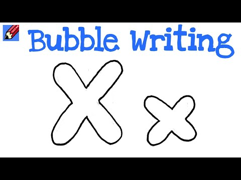 How to Draw Bubble Writing Real Easy - Letter X - YouTube