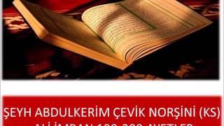 Şeyh Abdullkerim Çevik Norşini (ks) Safvetü't Tefasir dersleri Ali İmran 190 200