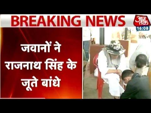 Caught on camera: BSF Jawan tying Rajnath Singh's shoelace
