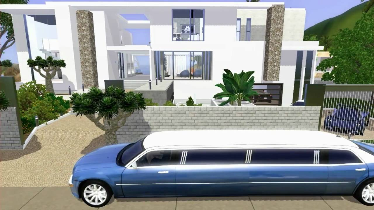 Sims 3 celebrity beach house modern design youtube for Beach house plans sims 3