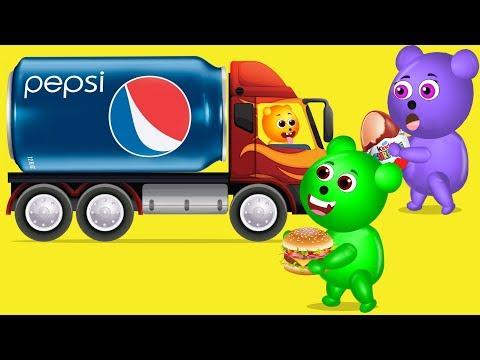 Mega Gummy Bear Pepsi Cans Kinder Finger Family Nursery Rhyme For Kids