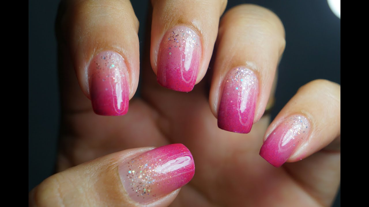 Ombre Nails Pink Glitter Ombre Pink Glitter Nail