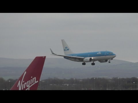 KLM Windy Landing Manchester Airport