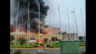 A fire has broken out at the main international airport in the Kenyan capital