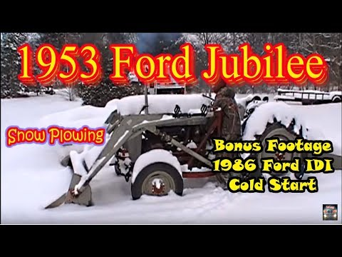 Snow Plowing the Driveway with the 53 Ford Jubilee and Cold Starts!