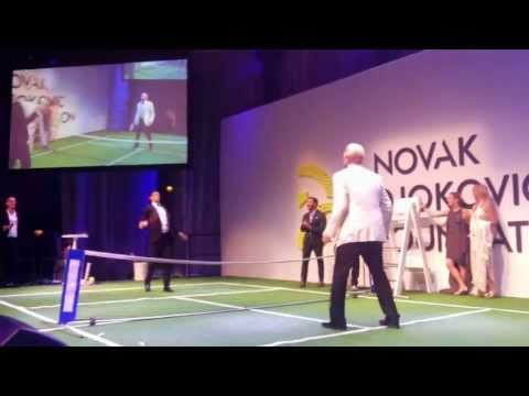Novak Djokovic vs Boris Becker fun & games tennis - priceless video!
