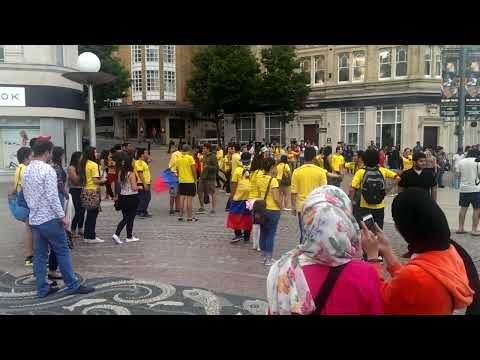 Colombian fans after winning game 3-0 with Greece