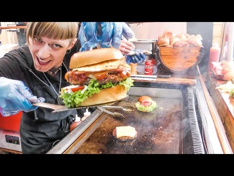 London Street Food. Huge Meat Sandwich, Gourmet Burger with Montgomery Cheddar and More Burgers