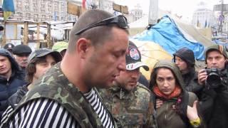 15.04.14 - Киев. Майдан. Как же они боятся Донбасс... Дзындзя и сотникм самообороны Майдана