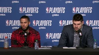 D.J. Augustin & Nikola Vucevic Postgame Interview - Game 1 | Magic vs Raptors | 2019 NBA Playoffs